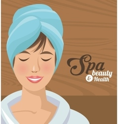 spa beauty and health woman smiling with towel vector image