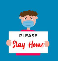 Stay home on warning covid19 19 banner coronavirus vector