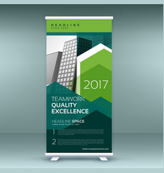 stylish green roll up presentation banner template vector image