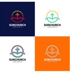 Sun calvary church logotype in circle baptist vector