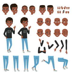 Teenager character constructor black boy s vector