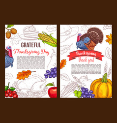 thanksgiving day sketch greeting poster vector image