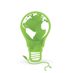 Thnk green concept light bulbs with map of world vector