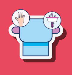 Toilet paper hand and wash basin bathroom vector