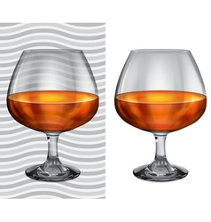 Transparent and opaque full brandy glasses vector image