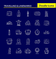 Travelling and landmarks hand drawn icon for web vector