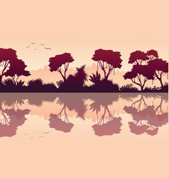 Tree with reflection on forest scnery vector