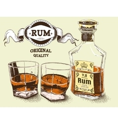 Two stemware of rum with bootle vector