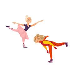 Two teenage girls figure skater and ballet dancer vector