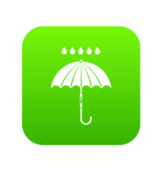 Umbrella and rain drops icon digital green vector