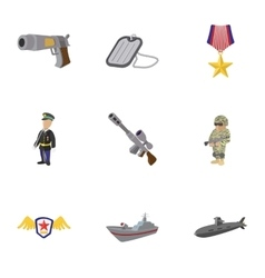 War equipment icons set cartoon style vector