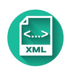 white xml file document icon download xml button vector image