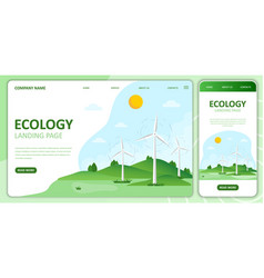 Wind energy flat ecology landing page template vector