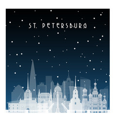 winter night in st petersburg night city vector image