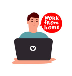 young man works at a laptop vector image