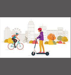 young people ride electric scooter and bike in the vector image