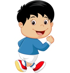 Cartoon little kid running vector image vector image
