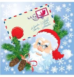 Christmas envelop and Santa Claus head vector image