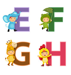 english alphabet with kids in animal costume e-h vector image vector image