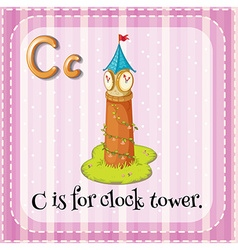 Flashcard C is for clock tower vector image vector image