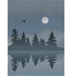 foggy lake vector image