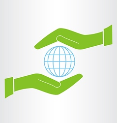 hands protect the earth icon vector image