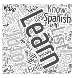 How to learn spanish with a tutor word cloud vector