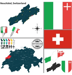 Map of Neuchatel vector image vector image