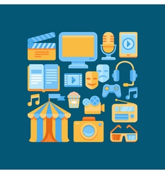 media and entertainment concept in flat style vector image vector image