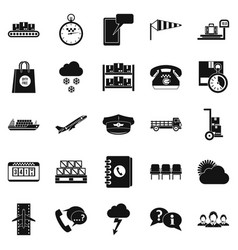 superintendent icons set simple style vector image vector image