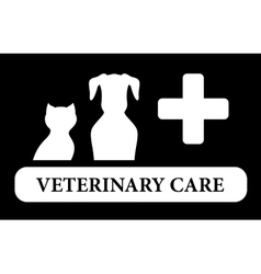 veterinary care icon with animal silhouette vector image vector image