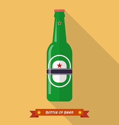 Beer bottle flat icon vector image vector image