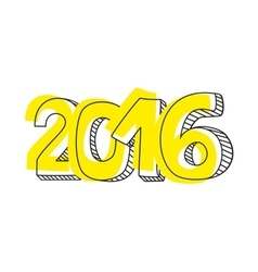 New Year 2016 hand drawn yellow sign isolated vector image
