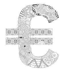symbol of euro zentangle decorative object vector image vector image