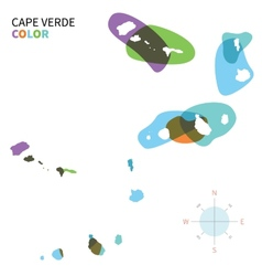 Abstract color map of cape verde vector