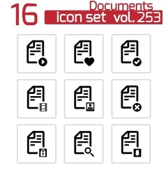 black documents icons set vector image vector image