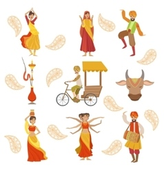 Dancing holy cow and other indian cultural symbol vector