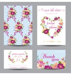Invitation or greeting card set vector
