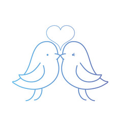 line bird dove lover with heart design vector image