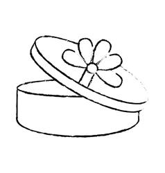open gift box ribbon ornament celebration sketch vector image