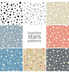 Set of 8 seamless stars patterns vector image vector image
