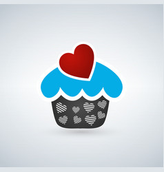 valentine cupcake with heart vector image