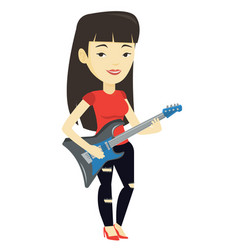 Woman playing electric guitar vector