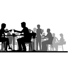 busy restaurant silhouette vector image vector image