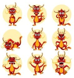 Chinese Dragon Mascot Emoticons Set vector image vector image