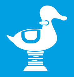 Duck spring see saw icon white vector