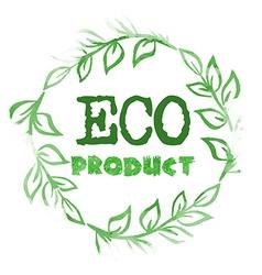 Green watercolor vine frame as eco label vector image