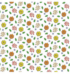 hand drawn colorful flowers seamless pattern vector image