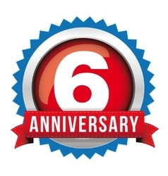 Six years anniversary badge with red ribbon vector image vector image