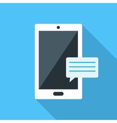Smartfon flat icon on blue background vector image